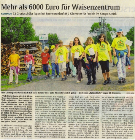 Die Rheinpfalz - Report: Children Run for Children (German)
