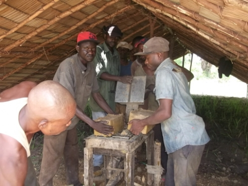 Creation of bricks for school construction in Mabala