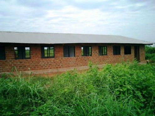 First brick building is finished
