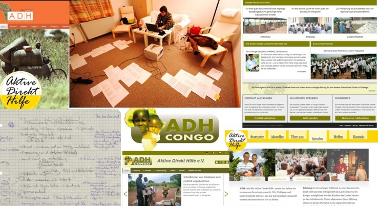 Website presentation of ADH Congo – from early beginnings until today