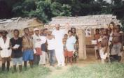 Jean Pierre, Dr. Essama (in white), who helped us a lot in the distribution, Wolfgang, Lisa and Naomi with the Pygmies.