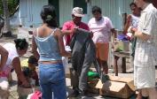Wolfgang at our distribution of clothes and food items ...