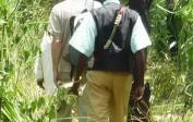 With machetes, the team cuts out the way through the undergrowth and the high elephant grass.