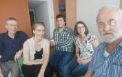 L à R: Rudolf, Melanie, Jens, Angela et John à notre réunion d'ADH à Berlin pour prévoir de nouveaux collaborateurs.