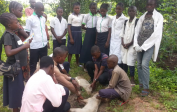 Praktisches Training für Schüler des Veterinärzweigs auf nahegelegener Farm