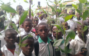 Students ready to plant acacia trees around our property