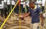 Mr. Shako testing the well.