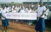 12. Angela with about 500 pupils at schoolyard in Mushapo