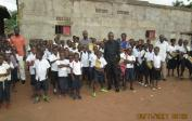 14. Director Pierre with pupils from the Mushapo School at rented school buildings in Tshikapa